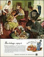 1950 John Gannam art Impromptu Concert U.S. Brewer's Beer vintage print Ad adL49