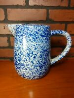 VTG Spongeware Pitcher Jug Splatterware Pottery Glaze Primitive Blue White 8.5""
