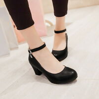 Women Mary Janes Cuban Heel Plus Size Casual Retro Vintage Chic Metal New Shoes