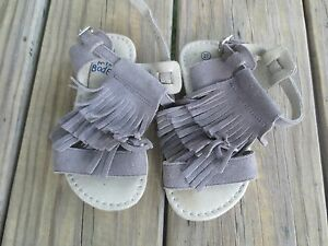 Mini Boden ~ Girls Taupe Gray Leather Fringe Sandals ~ Size 27 or 10 US