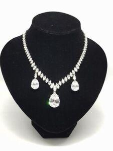 SIMULATED DIAMONDS THREE PEAR DROP CHOKER COSTUME JEWELRY NECKLACE