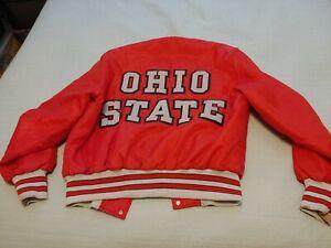 Vintage 80'S OHIO STATE BUCKEYES Sewn Nylon Insulated Snap Up Coat Jacket Large