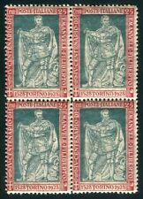 1928 Italia Regno Emanuele Filiberto 25 cent. dent. 13 3/4 quartina spl MNH **