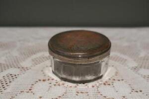 Vintage Glass Dressing Table Jar - Silver Plated Lid - Semper Paratus Motto - Gc