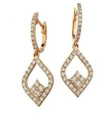 Diamond Drop Earrings 1.00ct F VS Brilliant Cut in 18ct Rose Gold