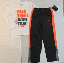 NWT Nike Boy White LS Active Tee Shirt & Black Pants Activewear Lot size 7