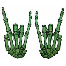 Green Skeleton Hands Horns Sign Rock Metal Kreepsville Embroidered Iron On Patch
