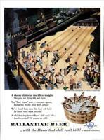 1953 Ballantine Beer PRINT AD Vintage Bowling Alley Frederick Siebel ART