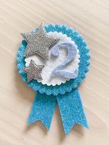 Handmade Boys Birthday Badge Rosette   Blue Age Party Stars
