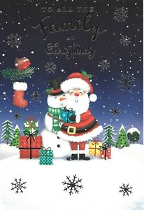 CHRISTMAS CARD TO ALL THE FAMILY - SANTA, SNOWMAN, TREES, PRESENTS, STOCKING