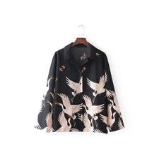 Designer Noir Crème Kimono Bird Blouse Travail Bureau Soirée Chemise Glam Top 10 12