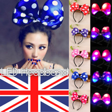 LED Light Up Hair Headband Polka - Dot Pattern Bow For Children & Adults Party