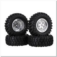 4 Sets RC1:10 Rock Crawler 96mm Rubber Tyre & Silver Aluminum Alloy Wheel Rim