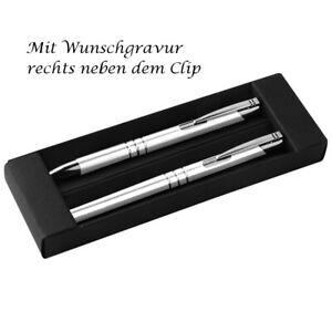 Metall Schreibset mit Gravur / Kugelschreiber + Rollerball / Farbe: weiß