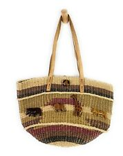 Vtg Jute Brown Stripe Woven Market Bag Leather Trim Sisal Shopper Beach Tote