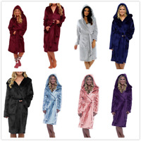Womens Robe Ladies Bath Robe Super Soft Coral Fleece Hooded Dressing Gown Robe