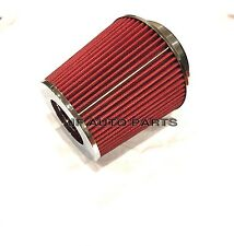 """4"""" 6.75""""H COLD/SHORT RAM INTAKE HIGH FLOW CONE RED AIR FILTER 3""""/3.5"""" REDUCER"""