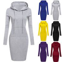Women Casual Midi Dress Long Sleeve Hoodie Hooded Jumper Pullover Sweater Tops