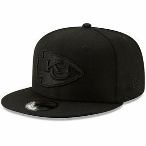 Kansas City Chiefs New Era 9Fifty Black On Black Adjustable Snapback Hat Cap