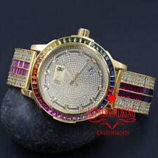 New Real Diamond Dial Rainbow Multi Tone Watch 18K Gold Finish Solid Steel Bezel