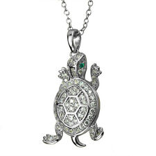 Daniel Steiger 925 Sterling Silver Rhodium Plated Turtle Pendant With Chain