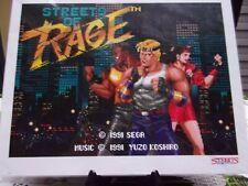 ENCART OFFICIEL SEGA STREETS OF RAGE 1991 AVEC CERTIFICAT D'AUTHENTICITE...NEUF