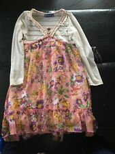 Truly Me Dress Ivory & Pink Floral Girls 7
