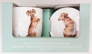 Royal Worcester, Wrendale, Dachshund / Sausage Dog, Mug & Coaster Set - New