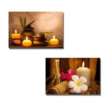"""Canvas - Spa Still Life with Aromatic Candles and Frangipani -16""""x24"""" x 2 Panels"""