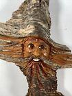 Tree Spirit Old Man Sprite Signed TRK Hand Carved Wood Wall Art 6.5 x 4.25