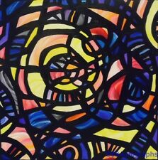 """ORIGINAL ABSTRACT Acrylic Stained Glass Window 20"""" x 20"""" PAINTING by SARA LARSON"""