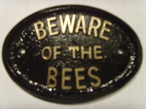 BEWARE BEES HOUSE HIVE SIGN BUSINESS  GARAGE PLAQUE
