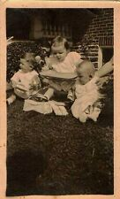 Antique Photograph Three Adorable Little Babies Opening Presents in Yard