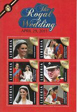 Liberia 2011 MNH Royal Wedding 6v M/S II Prince William Kate Middleton Catherine