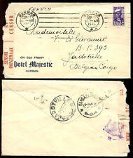 Sudafrica 1944 Hotel Majestic sobre Durban censurado a Congo Belga