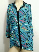 NICOLE MILLER new teal sheer button down women's top. Long sleeve. Small