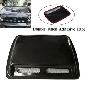 Car Air Flow Intake Scoop Vent Cover Hood Check Pattern Black Car Air Flow Cover