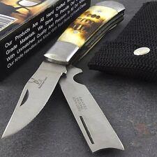 "6"" HAND MADE DUAL BLADE TRAPPER FOLDING POCKET KNIFE w/ BONE HANDLE Hunting"