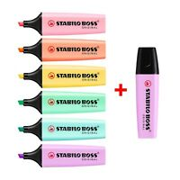STABILO BOSS Original Pastel Highlighter Marker Pens –Full Set of 6 + Lilac Haze