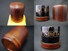 Japanese Lacquer Wooden Tea caddy SHICHI FUKU Chaki a Very Unique Natsume (306)