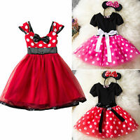 Toddler Baby Girls Minnie Mouse Bow Dot Dress Tutu Skirt Princess Party Costumes