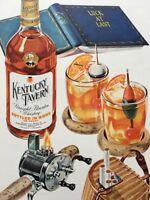 1946 Kentucky Tavern Boubon Whiskey Cocktail Fishing Novelty Reel Creel Ad +