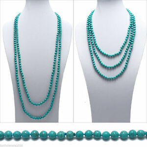 80 Inch Long Genuine 8mm Natural Turquoise Bead Stranded Necklace