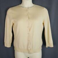 Womens Lauren Ralph Lauren LRL Cardigan SZ L Silk Cashmere Blend Cream Light Tan