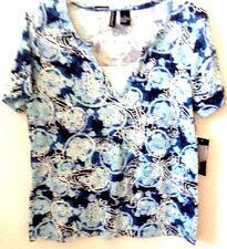 Womens Blue Print Knit Shirt/Top MEDIUM by Jason Maxwell Short Sleeve New w/Tag