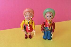 Vtg. Antique CELLUOLOID COWBOY COWGIRL Toy Dolls Figure 1950s Pistol Lasso Pair