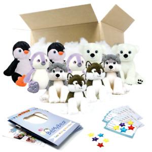 "16"" Arctic Teddy Bear Making Party Pack - 10 kits - Build Birthday Bear"