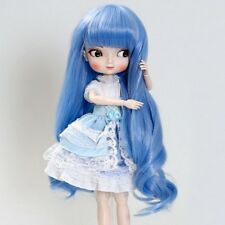 BJD Doll SD Wig Long Curly Wavy Blue Hair 8-9'' 1/3  DZ DOD LUTS Toy Full Wigs