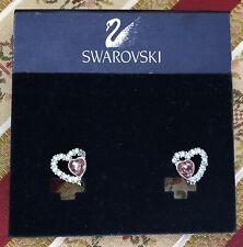 Swarovski Pink Blue Heart Clip On Earrings