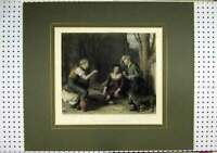 Old Antique Print C1860 Hand Coloured Children Playing Cherry Dog Bourne 19th